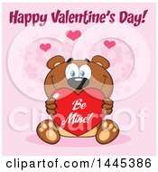 Clipart Of A Cartoon Teddy Bear Holding A Be Mine Valentine Love Heart With Text Over Pink Royalty Free Vector Illustration by Hit Toon