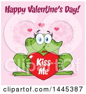Cartoon Female Frog Holding A Red Valentine Kiss Me Love Heart With Text Over Pink