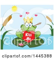 Cartoon Princess Frog Biting Cupids Arrow And Holding A Valentine Kiss Me Heart On A Lily Pad