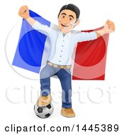 Poster, Art Print Of 3d Male Football Sports Fan Resting A Foot On A Soccer Ball And Holding Up A French Flag On A White Background