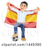Clipart Of A 3d Male Football Sports Fan Resting A Foot On A Soccer Ball And Holding Up A Spanish Flag On A White Background Royalty Free Illustration
