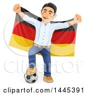 Clipart Of A 3d Male Football Sports Fan Resting A Foot On A Soccer Ball And Holding Up A German Flag On A White Background Royalty Free Illustration