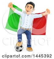 Clipart Of A 3d Male Football Sports Fan Resting A Foot On A Soccer Ball And Holding Up An Italian Flag On A White Background Royalty Free Illustration