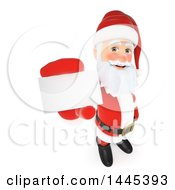 Clipart Of A 3d Christmas Santa Claus Holding Up A Business Card On A White Background Royalty Free Illustration by Texelart