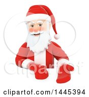 Clipart Of A 3d Christmas Santa Claus Presenting Over A Sign On A White Background Royalty Free Illustration by Texelart