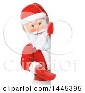 Clipart Of A 3d Christmas Santa Claus Presenting Around A Sign On A White Background Royalty Free Illustration by Texelart