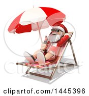 Clipart Of A 3d Christmas Santa Claus Relaxing With A Beer In A Beach Chair On A White Background Royalty Free Illustration