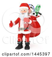 Clipart Of A 3d Christmas Santa Claus Carrying A Sack And Giving A Thumb Up On A White Background Royalty Free Illustration by Texelart