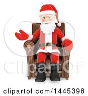 Clipart Of A 3d Christmas Santa Claus Sitting In A Chair And Presenting On A White Background Royalty Free Illustration by Texelart
