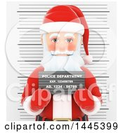 Clipart Of A 3d Christmas Santa Claus Getting His Mug Shot Taken On A White Background Royalty Free Illustration by Texelart