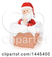 Clipart Of A 3d Christmas Santa Claus Sneaking Down A Chimney On A White Background Royalty Free Illustration by Texelart