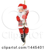 Clipart Of A 3d Christmas Santa Claus Climbing A Rope On A White Background Royalty Free Illustration by Texelart