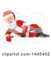 Clipart Of A 3d Christmas Santa Claus Presenting And Laying On His Side On A White Background Royalty Free Illustration by Texelart