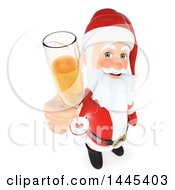 Clipart Of A 3d Christmas Santa Claus Holding Up A Glass Of Champagne On A White Background Royalty Free Illustration by Texelart
