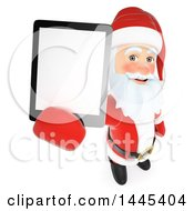 Clipart Of A 3d Christmas Santa Claus Holding Up A Tablet Computer With A Blank Screen On A White Background Royalty Free Illustration by Texelart
