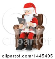 Clipart Of A 3d Christmas Santa Claus Sitting In A Chair And Using A Tablet Computer On A White Background Royalty Free Illustration