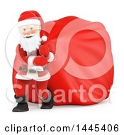 Clipart Of A 3d Christmas Santa Claus Pulling A Giant Sack On A White Background Royalty Free Illustration by Texelart