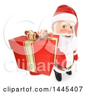 Clipart Of A 3d Christmas Santa Claus Holding Up A Gift On A White Background Royalty Free Illustration by Texelart