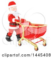Clipart Of A 3d Christmas Santa Claus Pushing A Shopping Cart On A White Background Royalty Free Illustration by Texelart