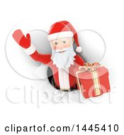 Clipart Of A 3d Christmas Santa Claus Emerging Through A Hole With A Gift On A White Background Royalty Free Illustration by Texelart