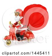 Clipart Of A 3d Christmas Santa Claus Riding A Motorcycle With A Sack On A White Background Royalty Free Illustration by Texelart