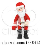 Clipart Of A 3d Christmas Santa Claus Sitting On A White Background Royalty Free Illustration by Texelart