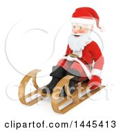 Clipart Of A 3d Christmas Santa Claus Sledding On A White Background Royalty Free Illustration by Texelart