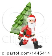Clipart Of A 3d Christmas Santa Claus Running With A Christmas Tree On His Back On A White Background Royalty Free Illustration by Texelart
