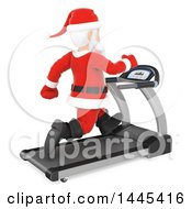 Clipart Of A 3d Christmas Santa Claus Running On A Treadmill On A White Background Royalty Free Illustration by Texelart