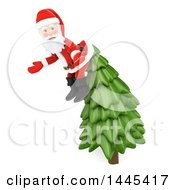 Clipart Of A 3d Christmas Santa Claus Caugh On Top Of A Christmas Tree On A White Background Royalty Free Illustration by Texelart