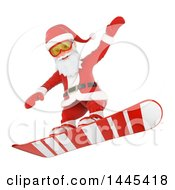 Clipart Of A 3d Christmas Santa Claus Snowboarding On A White Background Royalty Free Illustration by Texelart