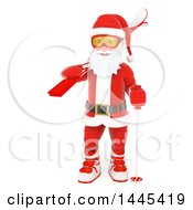 Clipart Of A 3d Christmas Santa Claus Carrying Skis On A White Background Royalty Free Illustration by Texelart