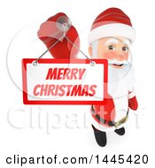 Clipart Of A 3d Santa Claus Hanging A Merry Christmas Sign On A White Background Royalty Free Illustration