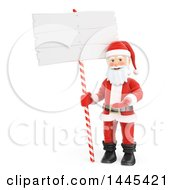 Clipart Of A 3d Christmas Santa Claus Presenting By A Blank Sign On A White Background Royalty Free Illustration