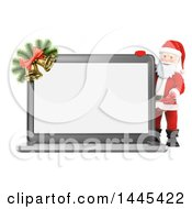 Clipart Of A 3d Christmas Santa Claus Presenting A Laptop Computer With A Blank Screen On A White Background Royalty Free Illustration by Texelart