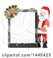 Clipart Of A 3d Christmas Santa Claus Presenting A Tablet Computer With A Blank Screen On A White Background Royalty Free Illustration