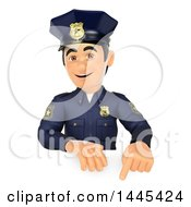 Clipart Of A 3d Male Police Officer Pointing Down Over A Sign On A White Background Royalty Free Illustration