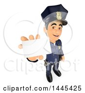 Clipart Of A 3d Male Police Officer Holding Up A Business Card On A White Background Royalty Free Illustration