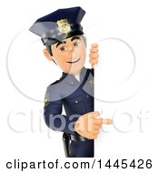 Clipart Of A 3d Male Police Officer Pointing Around A Sign On A White Background Royalty Free Illustration