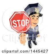Clipart Of A 3d Male Police Officer Holding Up A Stop Sign On A White Background Royalty Free Illustration