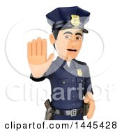 Clipart Of A 3d Male Police Officer Holding Out A Hand To Stop On A White Background Royalty Free Illustration