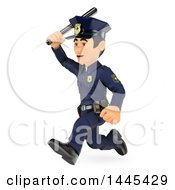 Clipart Of A 3d Male Police Officer Chasing With A Baton On A White Background Royalty Free Illustration