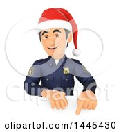 Clipart Of A 3d Male Police Officer Wearing A Christmas Santa Hat And Pointing Down Over A Sign On A White Background Royalty Free Illustration