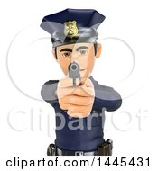 Clipart Of A 3d Male Police Officer Pointing A Gun On A White Background Royalty Free Illustration