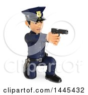 Clipart Of A 3d Male Police Officer Kneeling And Pointing A Gun On A White Background Royalty Free Illustration