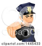 Clipart Of A 3d Male Police Officer Pointing A Gun Like A Punk On A White Background Royalty Free Illustration