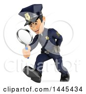 Clipart Of A 3d Male Police Officer Walking And Searching With A Magnifying Glass On A White Background Royalty Free Illustration