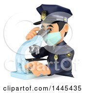 Clipart Of A 3d Male Police Officer Viewing Evidence Through A Microscope On A White Background Royalty Free Illustration