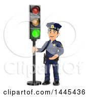 Clipart Of A 3d Male Police Officer By A Green Traffic Light On A White Background Royalty Free Illustration