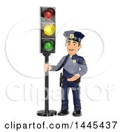 Clipart Of A 3d Male Police Officer By A Yellow Traffic Light On A White Background Royalty Free Illustration